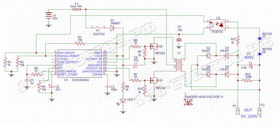 Простой инвертор 12-200 до 400 ватт, схема