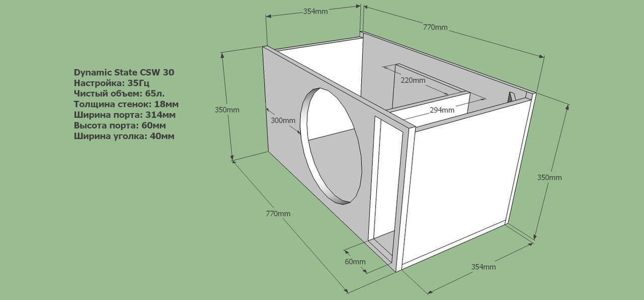 Короб для сабвуфера Dynamic State CSW 30. Чертёж ФИ.