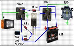 Вежливая подсветка противотуманок или ДХО, схема