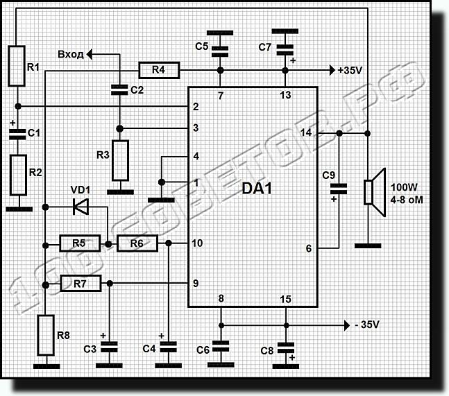 схема на микросхеме TDA7294