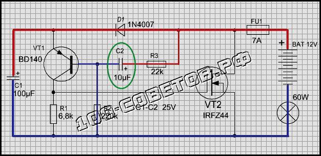 Простое электронное реле поворотников для ламп
