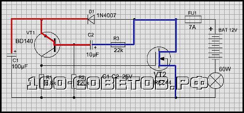 реле поворотников для ламп или светодиодов, схема