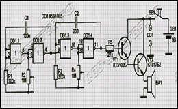Догчейзер или Ультразвуковой генератор для отпугивания собак на микросхеме К561ЛЕ5, схема