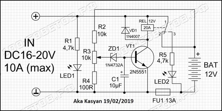 Автоматическое отключение аккумулятора или приставка к ЗУ схема