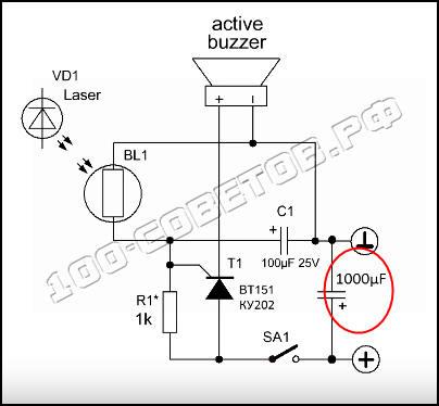 Простые охранные схемы для гаража на основе тиристора