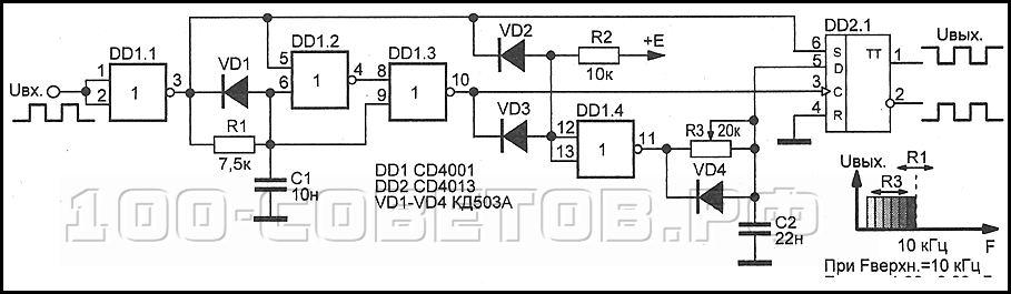Полосовой фильтр на микросхемах CD4001, CD4011, CD4013