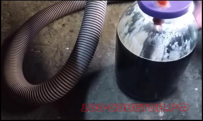 Самоделка для замены масла в авто с помощью пылесоса.