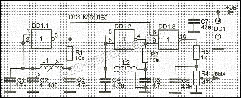 Металлоискатель на микросхеме К561ЛЕ5