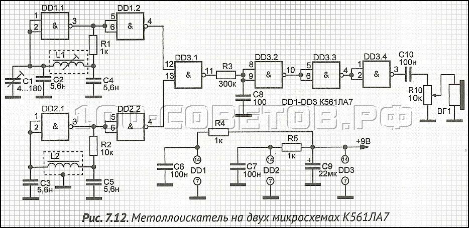 Металлоискатель на микросхемах К561ЛА7