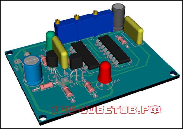 Автомобильный, светодиодный индикатор напряжения, схема