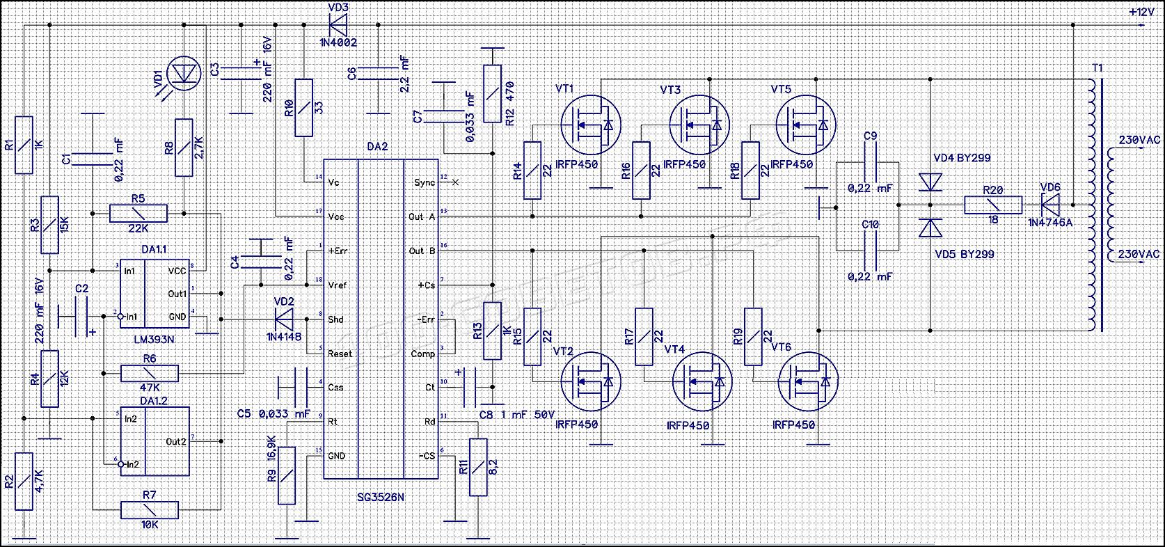 Автомобильный, мощный инвертор 12DC-230AC, схема