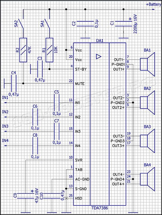 Автомобильный УМЗЧ 4x45Вт на TDA7386, схема