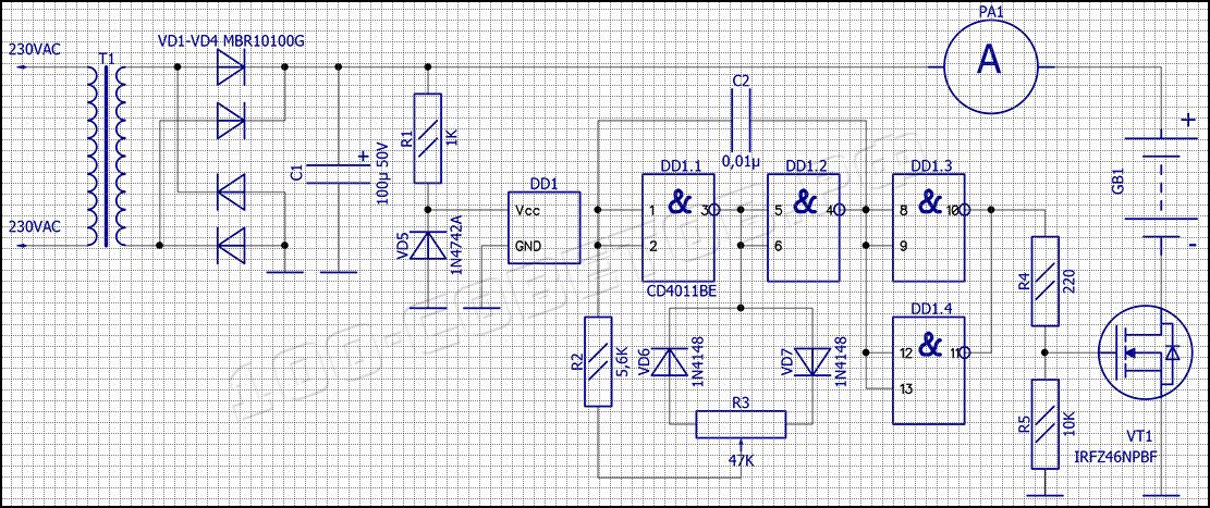 Зарядное устройство автомобильного АКБ с ШИ-регулировкой тока