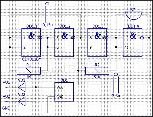 Звуковой дублёр указателя поворотов, схема