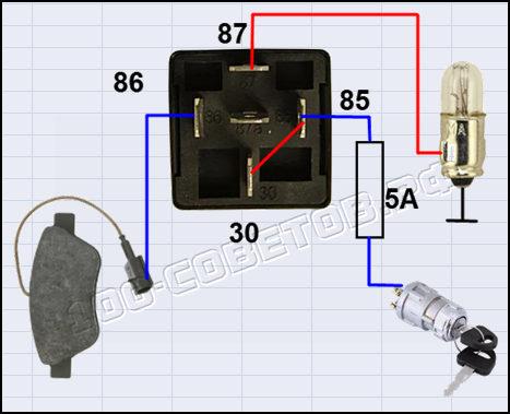 Тормозные колодки с электронным датчиком своими руками, схема подсоединения.