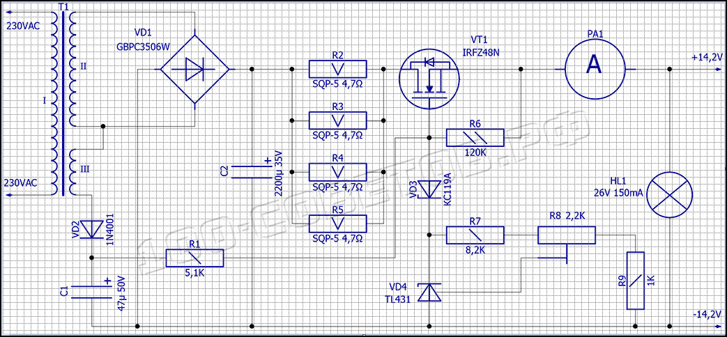 Зарядное устройство-автомат для автомобильного АКБ, схема.