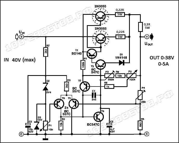 Лабораторный блок питания с регулировкой напряжения и тока, схема